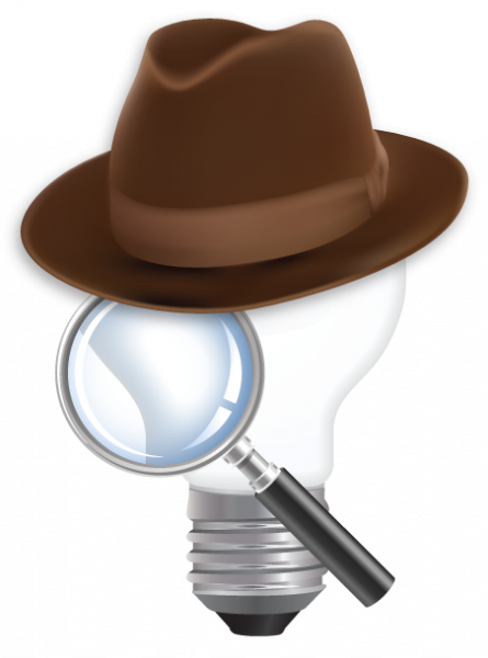 ChemHAT lightbulb logo wearing detective hat