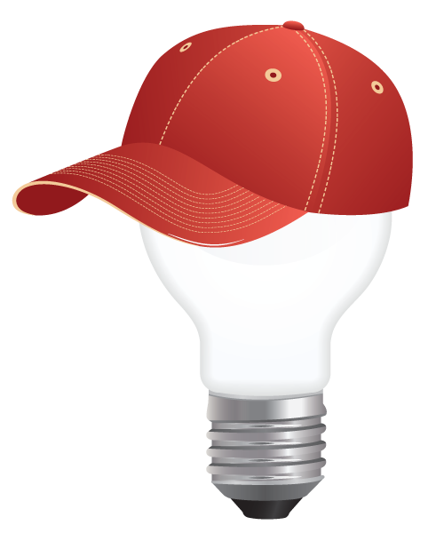 ChemHAT lightbulb logo wearing baseball cap